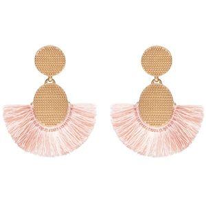 NEW India Hicks Golden Fan Earrings, Desert Pink